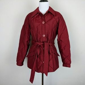 Eddie Bauer Red Goose Down Belted Puffer Jacket
